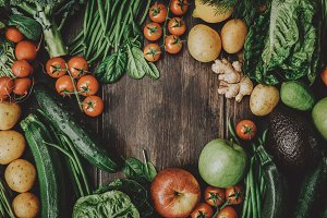 Raw vegetables on table toned
