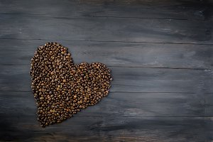 coffee beans in the form of a heart