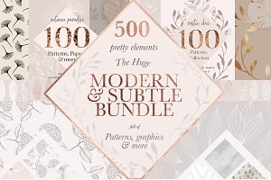 Modern Subtle Floral Patterns Bundle