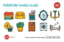 Furniture Doodle Icons Set