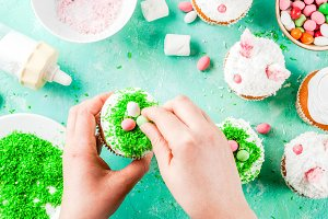 Cooking funny easter cupcakes