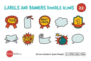 Labels and Banners Doodle Icons Set
