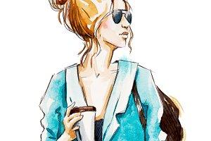 Street fashion. Watercolor sketch