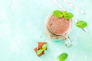 Chocolate smoothie or milkshake
