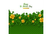 Patricks Day Border with Gold Clover