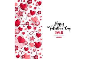 valentine's day sale vertical border on white