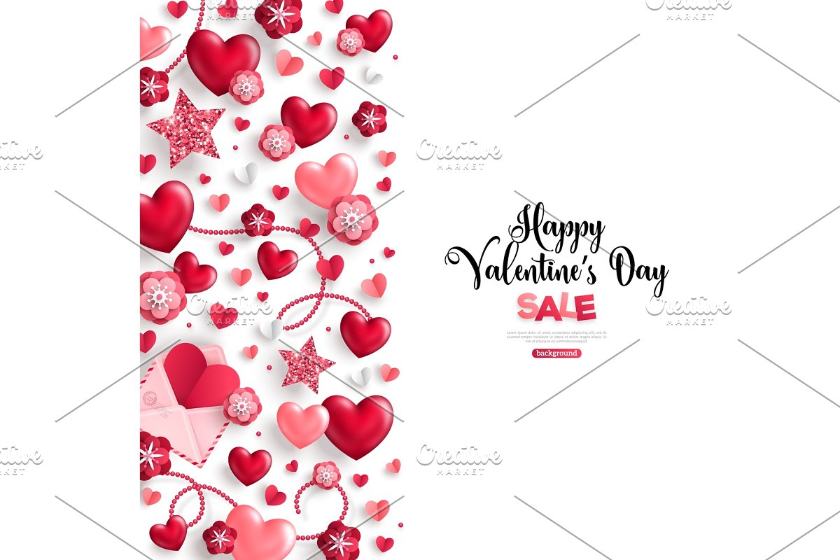 valentine's day sale vertical border on white in Illustrations - product preview 8
