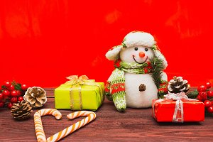 Christmas background with toys
