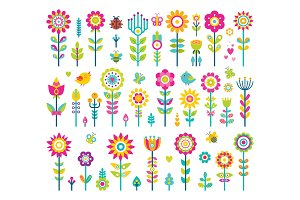 Flowers Collection Poster Vector Illustration