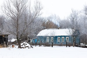 village house in the winter