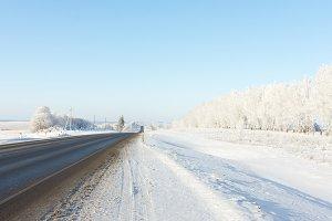 landscape of winter roads