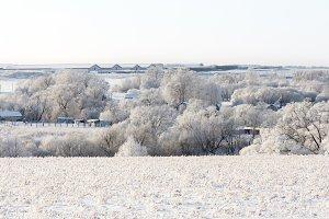 landscape of winter village