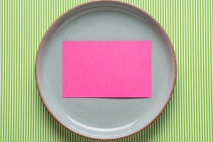 Gray dish with blank pink card