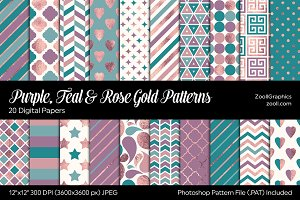 Purple Teal Rose Gold Digital Papers
