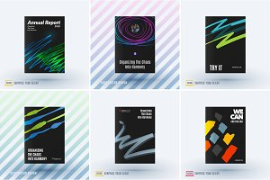 Mega set of abstract templates for business, trendy сolourful sketch chaos lines, design for website, banner, stand