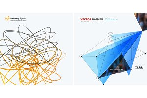 Set of abstract vector design elements for graphic template