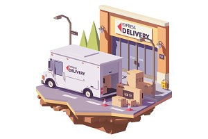 Vector low poly delivery van