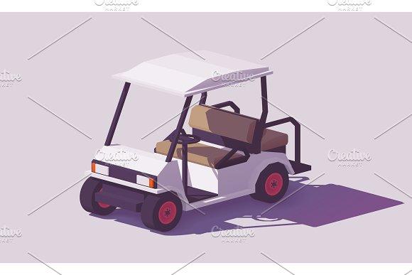 Vector Low Poly Golf Cart