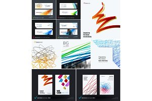 Mega set of abstract templates for business, trendy colourful sketch chaos lines