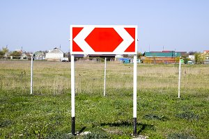 Road sign. The sign of the crossing