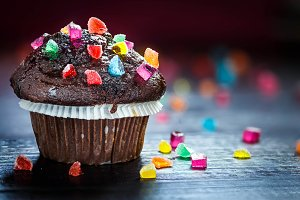 Chocolate Muffin with candies