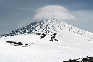 Wintry volcano landscape