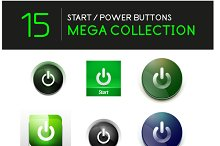Glossy power buttons set