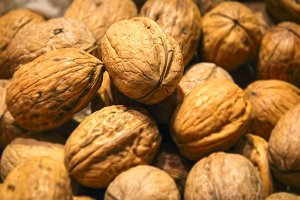 Group of Walnuts close up