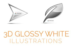 3d glossy white illustrations