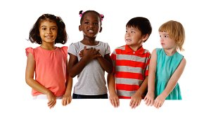 Group of multiracial kids with board