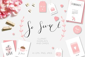 So Sweet Clipart, Overlays, Cards