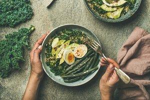 Quinoa, kale, beans, avocado & egg