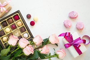Pink rose present and truffle