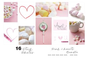 Pink, hearts & Crayons stock photos