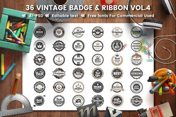 36 VINTAGE BADGE & RIBBON Vol.4