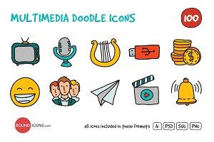 Multimedia Doodle Icons Set