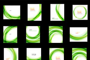 Abstract swirl backgrounds set