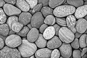 Black and white pebble stones