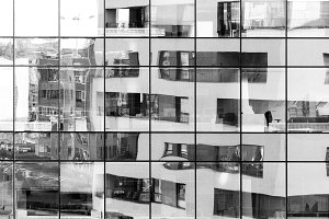 Black and white building reflection