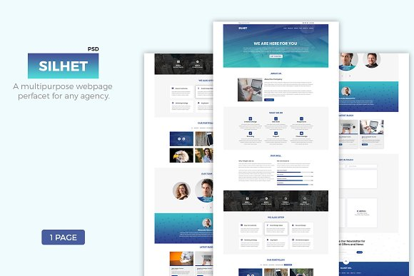 Silhet Multipurpose One Page PSD