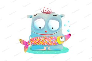 Cute Kids Monster Holding Fish