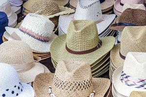 Hats at an outdoor market