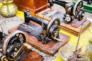 Black retro sewing machines