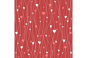 Vector seamless pattern with hanging heart garlands. Threads and hearts. Cute wrapping paper background