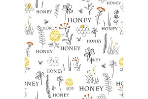 Seamless vector pattern with bees and flowers. Hand drawn vintage graphic doodle design. Sketch pattern for print on fabric. Vector illustration.