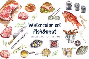 Hand drawn watercolor fish and meat