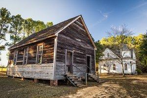 Old houses in a historic landmark park
