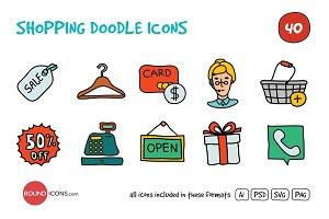 Shopping Doodle Icons Set