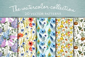 20 watercolor vector patterns