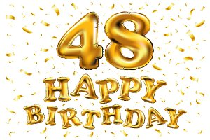 happy birthday 48 balloon golden